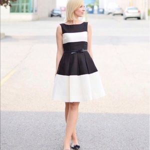 Kate Spade Black & Ivory Stripe Gayle Silk Dress